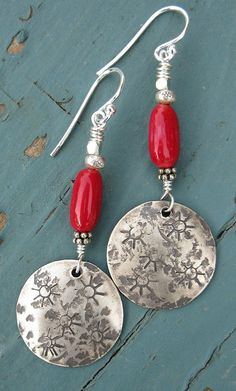 Handstamped sterling silver and coral | by Debbie / Prairie Emporium