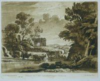 Een landschap met boeren en vee. Het Colosseum en de Triomfboog van Septimus Severus zijn te zien in de verte. Claude zelf is ook afgebeeld, tekenend. Prent uit het Liber Veritatis (vol. 2). // Pastoraal landschap met de Triomfboog van Constantijn.