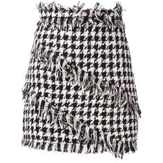 MSGM Fringed Houndstooth Mini Skirt ($370) ❤ liked on Polyvore featuring skirts, mini skirts, black, mini skirt, short skirts, houndstooth mini skirt, short fringe skirt and fringe skirt