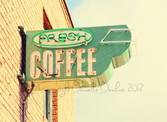 Coffee Photo Street Sign PastelFine Art by ThePDXPhotographer