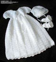 Christening Gown with Bonnet - Donna's Crochet Designs