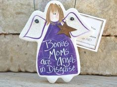Handcrafted and unique for your 'Bonus' Mom! Cute for Mom's birthday or Christmas, hand painted Salt Dough angel gift ornament for your Step Mom or Mother in Law. Shown in Purple, ornament is availabl