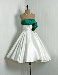 1950's Ivory-White & Emerald-Green Satin - may need to get something like this made for me minus the flower. super cute.