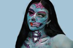 💗Zombie💗 Espero que les guste 💜 porque me costó un montón y después no estaba tan segura de su subirlo o no pero bueno al final me terminó… Halloween Makeup, Instagram, Haloween Makeup, Halloween Make Up