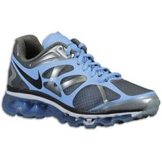 Nike Air Max + 2012 - Womens - Cool Grey/Prism Blue/White/Anthracite discovered on Fantasy Shopper Nike Heels, Nike Wedges, Cheap Sneakers, Sneakers Nike, Cheap Air Max 90, Nike Motivation, Nike Air Max 2012, Discount Nikes, Nike Free Shoes