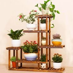 Anti-Corrosion Solid Wood 5Tier Plant Stand Flower Pot Shelf Balcony Holder Rack | Home & Garden, Yard, Garden & Outdoor Living, Garden Décor | eBay!