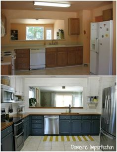 Before and after- budget kitchen remodel from Domestic Imperfection - butcher block counters with a finish