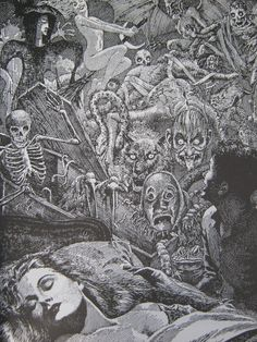 Virgil Finlay illustrated 'The Homecoming' by Ray Bradbury for Famous Fantastic Mysteries in December 1952.