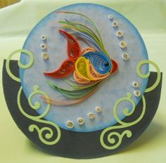Quilled fish card, rocking tropicial fish card