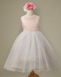 3bdd75be826 Flower Girl Dress Tulle and Satin Dress with Floral Accents Pink Party Dress  Special Occasion Dress. Dance DressesGirls ...