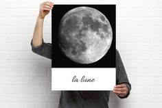 Sizeable/Printable Art Moon La Lune Grayscale by BrightAndBonny