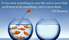 """""""If you want something in your life you've never had, you'll have to do something you've never done. - JD Houston"""