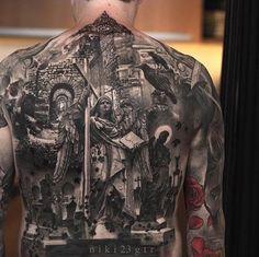 Black & Grey Tattoo by Niki Norberg. #inked #inkedmag #tattoo #art #blackandgrey #realism #back #piece #art