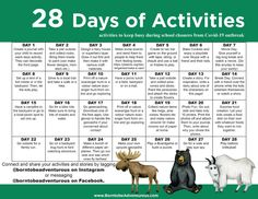 28 Days of Activities for Kids(+Free Printable): staying sane during List Of Activities, Outdoor Activities For Kids, Learning Activities, Preschool Activities, Spring Activities, Outdoor Scavenger Hunts, School Closures, Kids Calendar, Home Learning