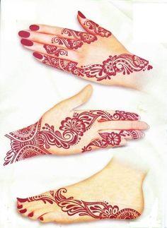 Red henna foot tattoo idea