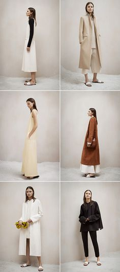 Interior styling (sand) // Clothes styling (gown/trench length) // The Row