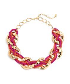 Color Block Chain Choker - Coral and Purple  $10