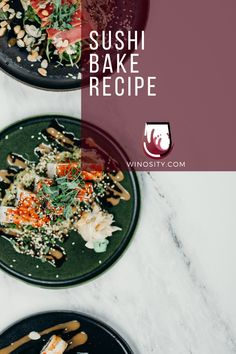 A fun way of eating homemade sushi for an afternoon snack idea. This sushi bake recipe is an excellent one-pot meal for the whole family. A sushi casserole that can be paired with white and rosé wines. #howtomakesushi #cookedsushirecipes #snackfoodideas #sushifillingsideas #foodandwinerecipes #winepairingswithfood Cooked Sushi Recipes, Fish Recipes, Seafood Recipes, Asian Recipes, Delicious Dinner Recipes, Vegan Recipes Easy, Brunch Recipes, Drink Recipes, Kitchen Recipes