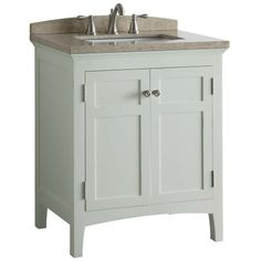 Shop allen + roth Norbury 30-in x 20.625-in White with Weathered Edges Undermount Single Sink Bathroom Vanity with Engineered Stone Top at L...