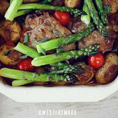 Zapiekanka z kurczakiem BBQ i szparagami Kung Pao Chicken, Green Beans, Chicken Recipes, Bbq, Yummy Food, Vegetables, Ethnic Recipes, Yum Yum, Barbecue