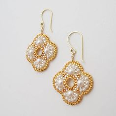 QJBoutique Etsy shop Wedding earrings / beads gold plated/ 35 euro
