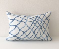 Blue and white watercolor linen decorative throw pillow cover