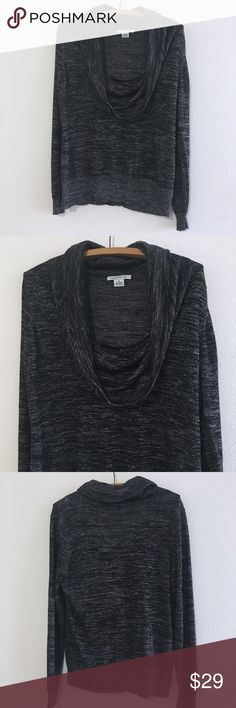 """Liz Claiborne Black & Silver Scoopneck Sweater XL Liz Claiborne Black & Silver Scoopneck Sweater. Long sleeve with build in tank top. Has some shimmer and sparkle. Very cute!   Size: XL  25.5"""" length (top shoulder to bottom)   Good pre loved condition.   Bundle fav items for a personal discount. Offers are always welcome, too! No trades. Thank you! (34)  Tags: back to school, college, high school, on trend, trendy, date night, work, office, girls night, career, Liz Claiborne Sweaters Crew…"""