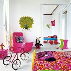 Color Explanation of the Childrens Rooms Interior: Colorful Children Room Interior Design With Bike And Flower Bedspread ~ Interior Inspiration