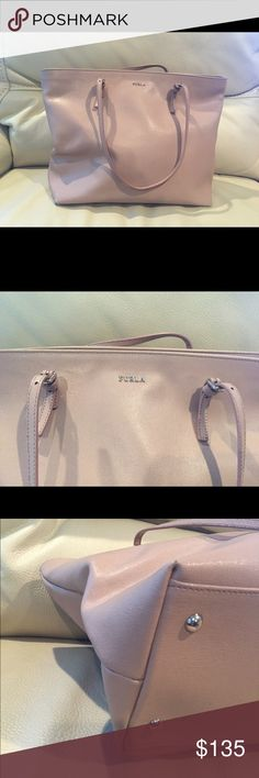 Furla leather tote in Cream Saffiano leather. Color is grey ish pink. Corner wear that's not obvious. No trade. Dimension 15'x10'x5.5' Furla Bags Totes