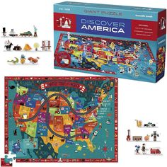 Discover America 100 US Map Puzzle & Play Set.  Manufactured by Crocodile Creek. Recommended for 5 years, 6 years, 7 years, 8 years.