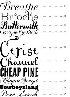 Great round up of 50 fonts from Snippet & Ink    fonts 11 - 20