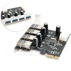 ANENG 4 Puertos PCI-E para USB 3.0 HUB de Expansión PCI Express Adaptador de tarjeta 5 Gbps Velocidad De Componentes de la Computadora de Escritorio A Estrenar