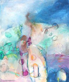 "Original Abstract Painting Modern Art Green Blue ""Summer Twilight"". via Etsy."