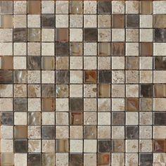 Beige Beige Speckle Marble & Glass Mosaic Bathroom Tiles