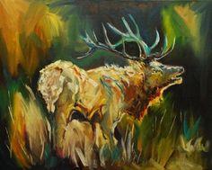 ARTOUTWEST DAILY PAINTING JUNE 21 ELK SOUND WILDLIFE ANIMAL ART OIL PAINTING, painting by artist Diane Whitehead