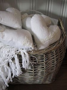 white linen, wicker baskets, hearts, shabby chic Just for Erica