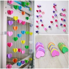 Details about Heart Paper Garland Bunting Banner Party Wedding Baby Shower Decorations Hanging Paper Flowers, Tissue Paper Garlands, Diy For Kids, Crafts For Kids, Wedding Ceiling, Garland Wedding, Party Wedding, Star Wedding, Wedding Decoration
