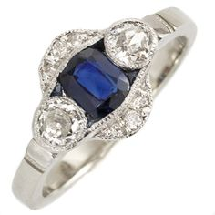 Blue Waters: Sink into the cool deep blue of this hypnotic vintage ring set with natural sapphires. The low profile set of the sapphires makes for a dreamy ring you'll want to swim around in. Ca 1915. Maloys.com