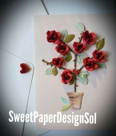 by SweetPaperDesignSol Quilling Flowers, Paper Quilling, Red Rose Flower, Red Roses, Purple Dream Catcher, Fruit Cartoon, Sunflower Cards, Paper Leaves, Quilling Designs
