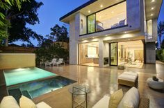 Brilliant Luxurious Home in Modern Interior Design: Perfect Laurel Home Exterior Design In Patio Area With Small Swimming Pool And Brown Til. Outdoor Pool, Outdoor Spaces, Outdoor Decor, Design Exterior, Interior And Exterior, Infinity Pools, Piscina Rectangular, Laurel House, Moderne Pools