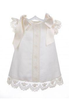 Vestido de hilo con encaje de Alençon para bebés