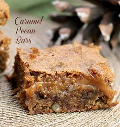 Caramel Pecan Bars There are three delicious flavors and two textures in this bar that make it outstanding. You have the wonderful flavors of cinnamon, caramel and pecans that is over the top delicious. The caramel and pecans do double duty by bringing you a creamy crunchy texture .