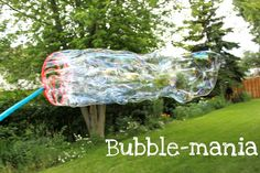 Best bubbles ever--6 cups water  2 cups Dawn dishwashing liquid  3/4 cup light corn syrup    Mix all ingredients together in a LARGE container of sorts...an empty water bottle, milk jug, etc. Shake everything up and let sit for a few hours. Pour into empty bubbles containers or dishes and go wild with your bubble wands!!