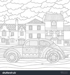 Retro Car Coloring For Adults, Anti-Stress / Machine Against White Houses / Zentangl Style / Template For Greeting Cards, T-Shirts, Invitations, Tattoo| Raster Image Fotka: 397096783 : Shutterstock