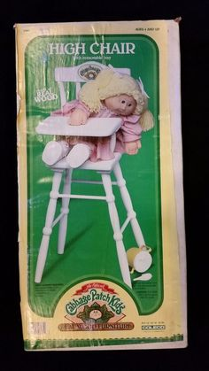 1986 Cabbage Patch Kids Wood Furniture High Chair, NIB, Coleco, 3985 #HousesFurniture