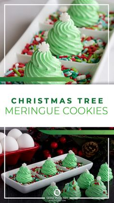 Christmas Tree Meringue Cookies are a light and airy cookie to add to your holiday cookie platter.