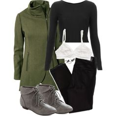 Allison Inspired Hiking Outfit by veterization on Polyvore featuring Topshop, Gestuz, American Eagle Outfitters and Forever 21 Other Outfits, Cool Outfits, Teen Wolf Outfits, Green Jacket, Black Leggings, Girl Fashion, Clothes For Women, Hoodies, Jackets