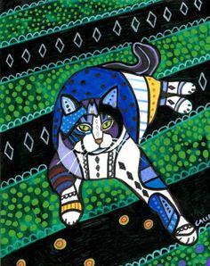 Cat Art   Tabby Cat Folk Art Cat Print Poster by HeatherGallerArt, $24.00