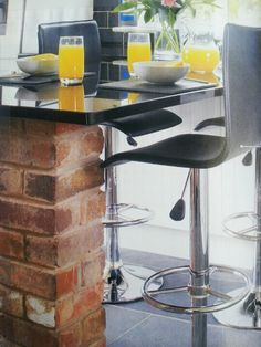 Brick table with glass top