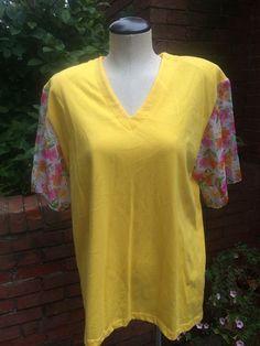 Vintage Yellow V-neck Top with Floral Sheer Sleeves #JustDawn